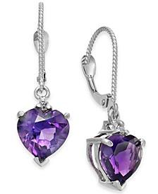 Amethyst (3-1/5 ct. t.w.) & Diamond (1/20 ct. t.w.) Heart Drop Earrings in 14k White Gold