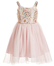 Little Girls Brocade & Mesh Dress