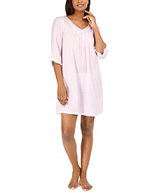 Cotton Embroidered Swiss Dot Nightgown