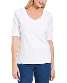 Petite Button-Detail V-Neck Top, Created For Macy's