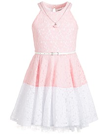 Big Girls Colorblocked Lace Necklace Dress