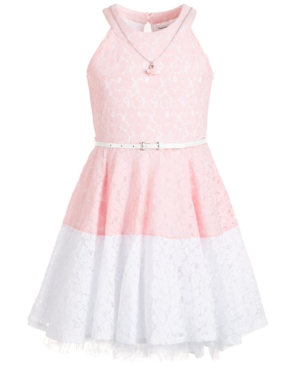 Beautees Big Girls Colorblocked Lace Necklace Dress