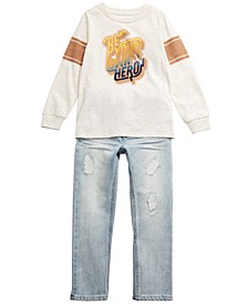 Toddler Boys Hero T-Shirt & Shore Destroyed Jeans, Created For Macy's