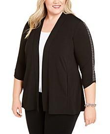 Plus Size Embellished-Sleeve Cardigan