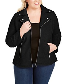 Plus Knit Moto Jacket, Created for Macy's