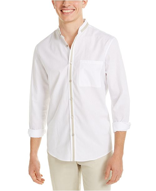 Alfani Men's Contrast Trim Striped Shirt, Created for Macy's