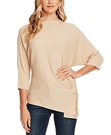 Petite Dolman-Sleeve Side-Twist Rib Asymmetrical Sweater