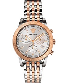 Men's Swiss Chronograph Sport Tech Two-Tone Stainless Steel Bracelet Watch 40mm