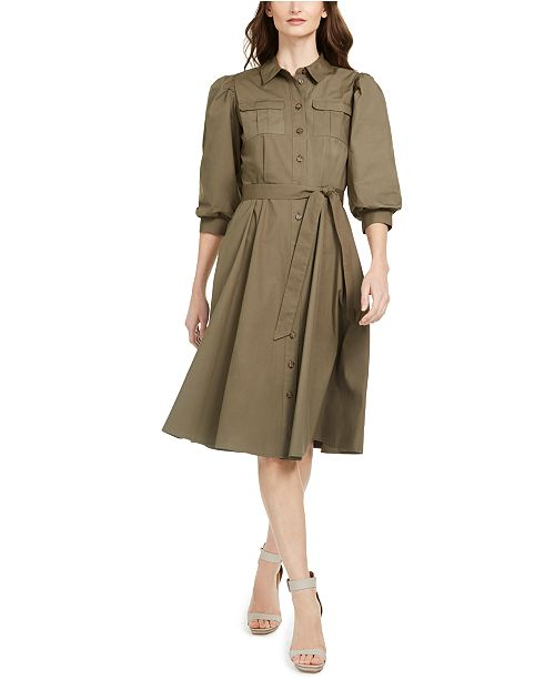 Calvin Klein Cotton Puff-Sleeve Shirtdress