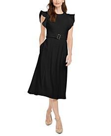 Ruffle-Shoulder Fit & Flare Midi Dress
