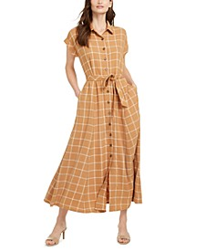 Plaid Gauze Maxi Dress