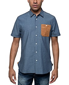 Men's Chambray Shirt with Faux Suede Pocket