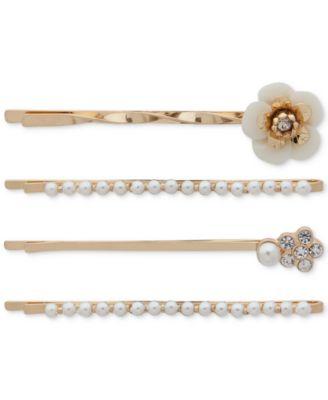 4-Pc. Gold-Tone Pavé Flower & Imitation Pearl Bobby Pin Set