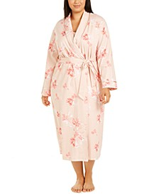 Plus Size Floral-Print Nightgown & Robe, Created for Macy's