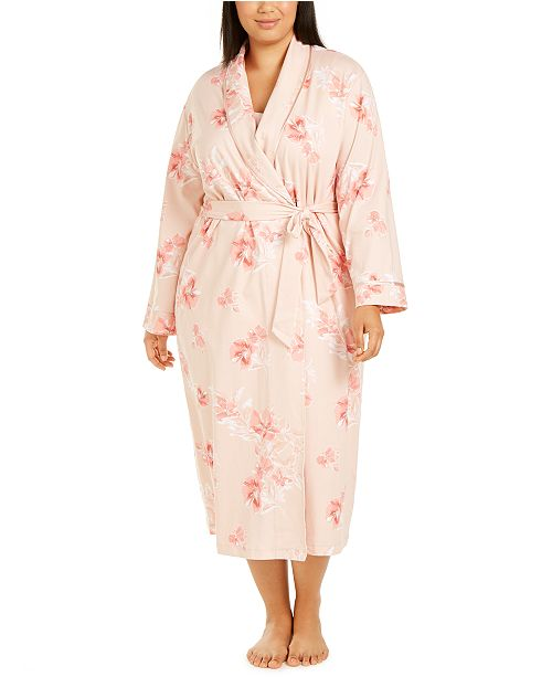 Charter Club Plus Size Floral-Print Nightgown & Robe, Created for Macy's