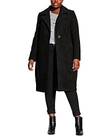 Trendy Plus Size Plush Love Textured Boucle Coat