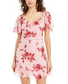 Juniors' Swiss-Dot Floral A-Line Dress