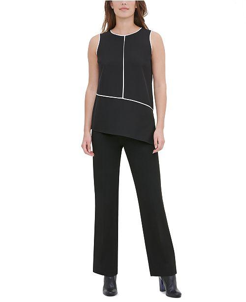 Calvin Klein Piped Asymmetrical-Hem Top