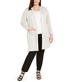 Plus Size Recycled Cashmere Open-Front Longline Cardigan