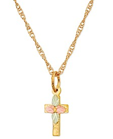 Leaf Cross Pendant in 10k Yellow Gold with 12k Rose and Green Gold