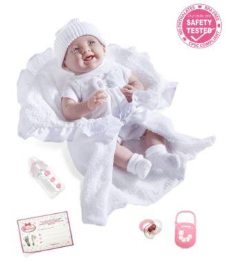 "La Newborn Nursery 15.5"" Soft Body Baby Doll White Outfit"