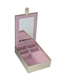 Multi Compartment Jewelry Organizer Box with Vanity Mirror