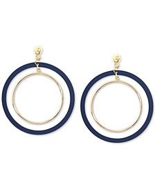 Gold-Tone Suede-Painted Double-Hoop Drop Earrings