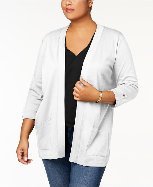 Karen Scott Plus Size Cotton Cozy Cardigan, Created for Macy's