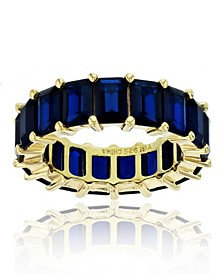 Created Blue Spinel Eternity Band in 14k Yellow Gold Plated Plated Sterling Silver