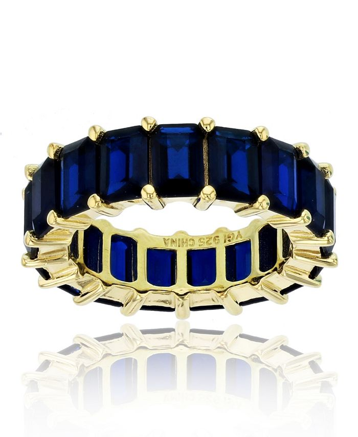 Macy's - Created Blue Spinel Eternity Band in 14k Yellow Gold Plated Plated Sterling Silver