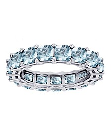 Created light Blue Spinel Eternity Band in Rhodium Plated Sterling Silver