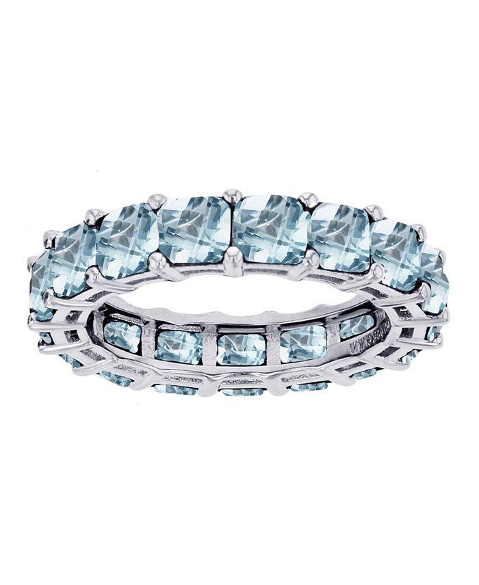 Macy's - Created Light Blue Spinel Eternity Band in Rhodium Plated Sterling Silver