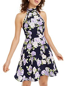 Juniors' Halter Floral Fit & Flare Dress