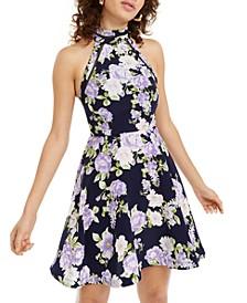 Juniors' Halter Floral Fit & Flare Dress