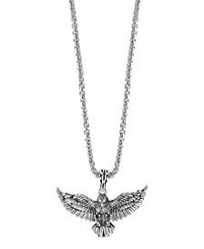 """EFFY® Men's Black Spinel Eagle Pendant 22"""" Necklace in Sterling Silver"""