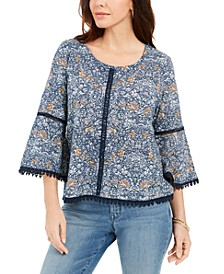 Petite Cotton Printed Crochet-Trim Top, Created for Macy's