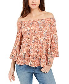 Petite Off-The-Shoulder Printed Top, Created For Macy's
