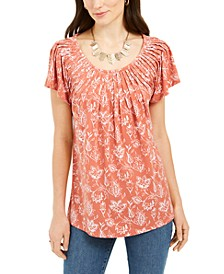 Styled & Co Printed Pleated-Neck Top, Created For Macy's