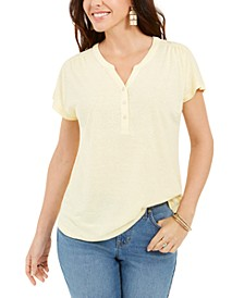 Petite Linen-Blend Henley Top, Created for Macy's