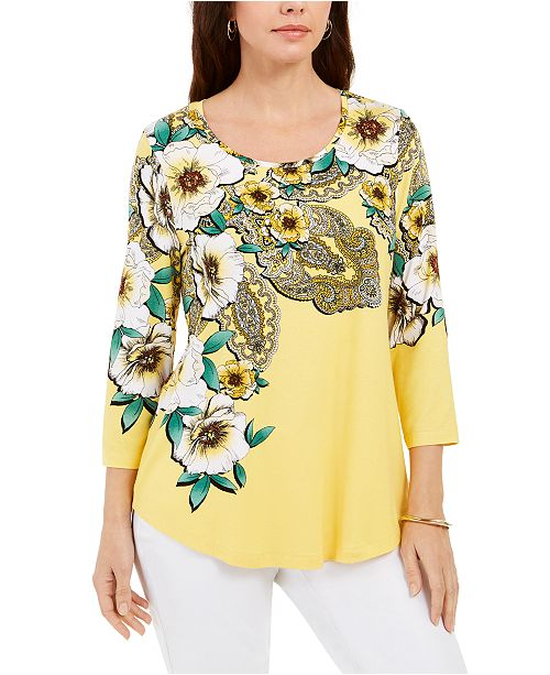 JM Collection 3/4-Sleeve Paisley Top, Created for Macy's