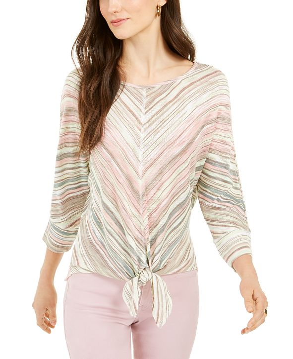 Style & Co Stripe Front-Tie Top, Created for Macy's