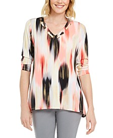 Petite Printed Grommet-Neck Top, Created for Macy's