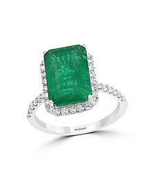 EFFY® Emerald (4 7/8 ct. t.w.) and Diamond (1/2 ct. t.w.) Ring in 14k White Gold