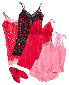 INC Hearts & Lace Sleepwear & Slipper Separates, Created for Macy's