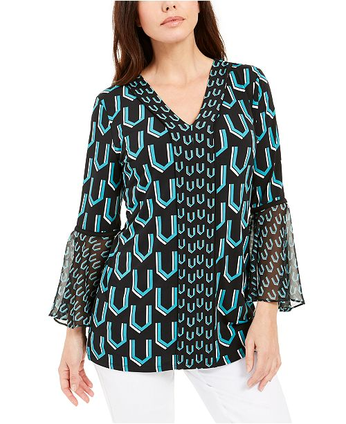 JM Collection Printed Bell-Sleeve Tunic, Created for Macy's