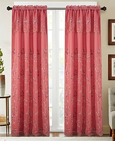 "Durant Floral Embroidered 54"" x 84"" Curtain Panel With Attached Valance"