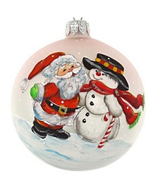 "Hand Painted Santa And Snowman European Mouth Blown Hand Decorated 4"" Round Holiday Ornament"