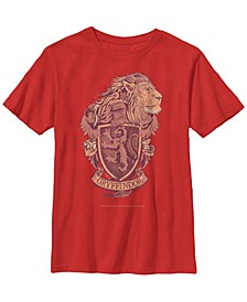 Harry Potter The Deathly Hallows Gryffindor Crest Little and Big Boy Short Sleeve T-Shirt
