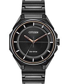 Drive From Eco-Drive Men's Black Stainless Steel Bracelet Watch 41mm