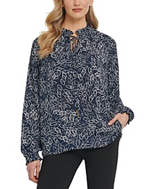 Tie-Neck Long-Sleeve Blouse